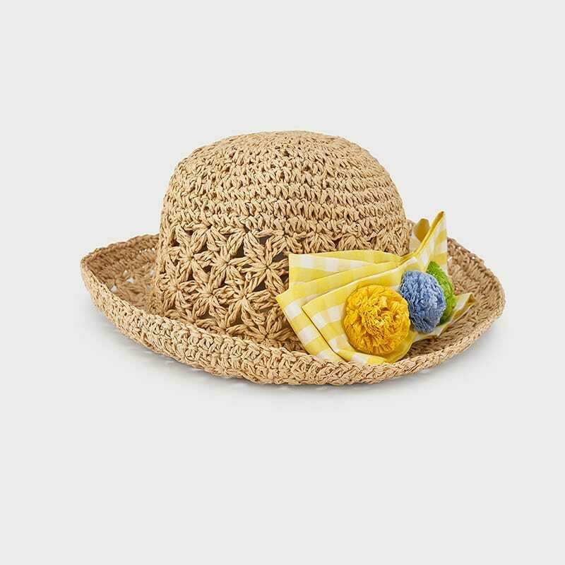 Mayoral Vichy bow hat Yellow Ribbon with flower