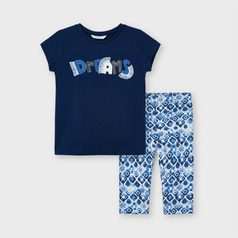 Mayoral Girls Navy  ECOFRIENDS print leggings set