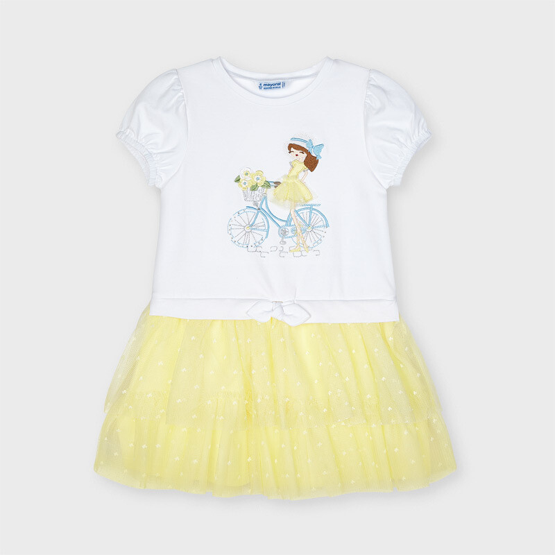 Mayoral Girls Lemon & white tulle dress