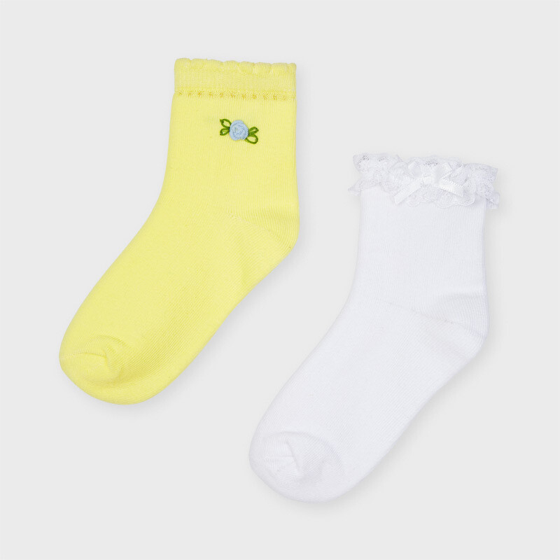 Mayoral Girls Set of 2 socks Lemon and white