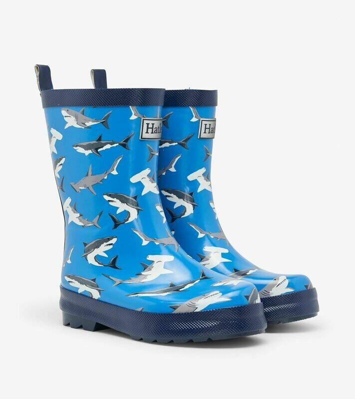 Hatley Boys Rain Wellies Deep Sea Sharks