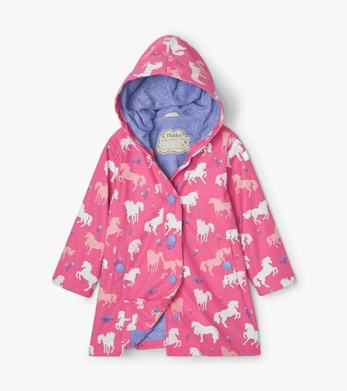 Hatley Girls PaintedPastureColourChangingRainCoat