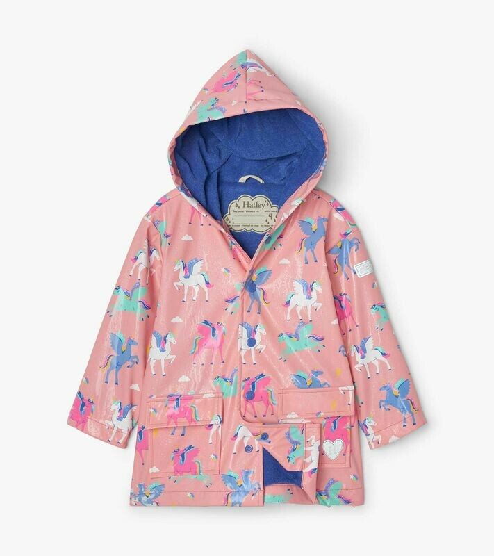 Hatley Girls MajicalPegasusColourChangingRainCoat