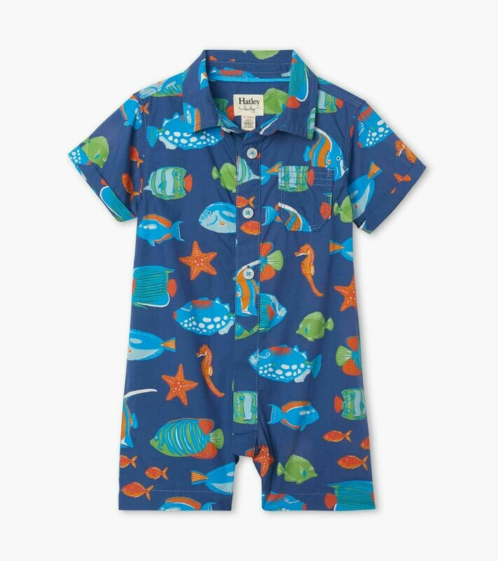 Hatley Baby Boys Bright Fish Cotton Romper