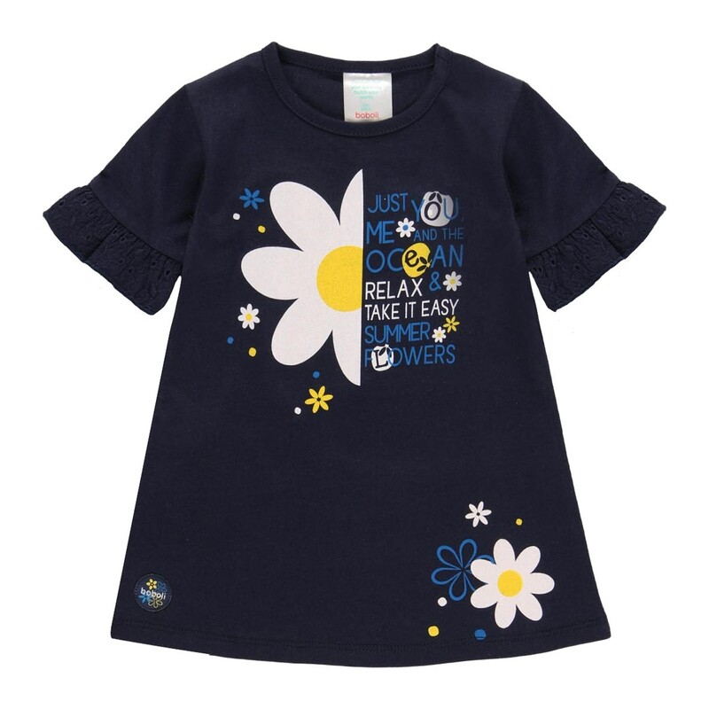 Boboli Girls Dress Navy with Ruffles