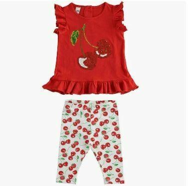iDO Girls Cherries two piece 3/4 leggings Set