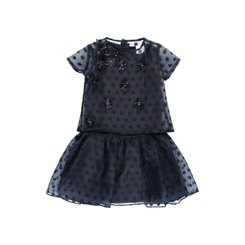 Boboli Teen Girls Dress Navy Print