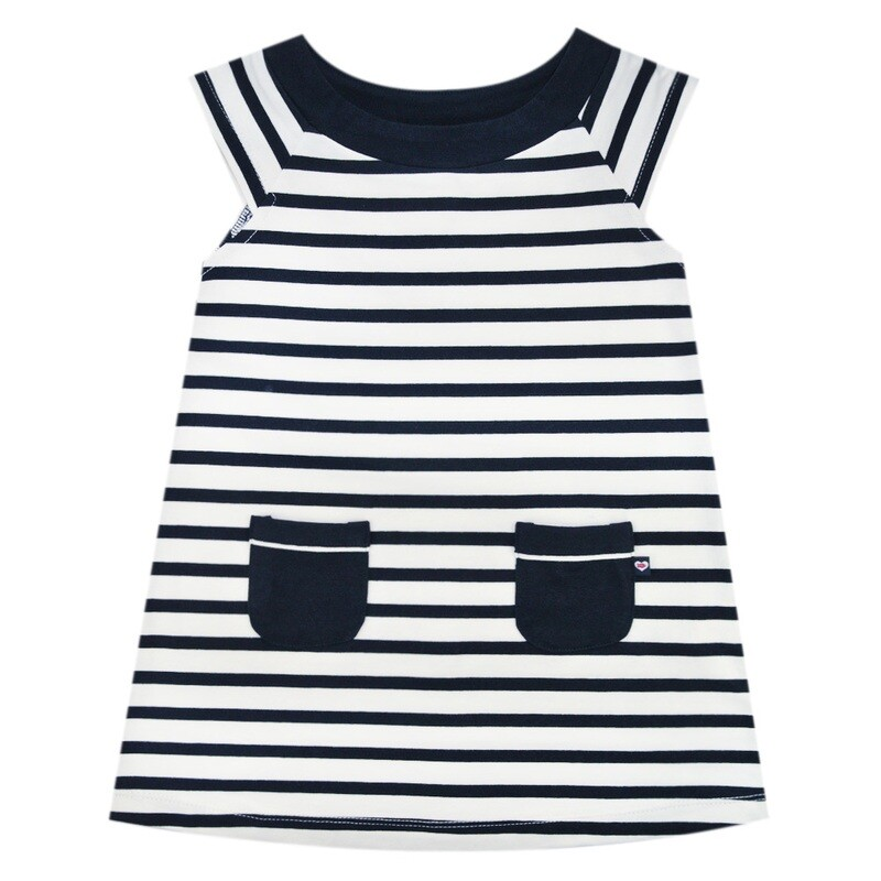 Weekend a La Mer Girls Navy/white Tunic Dress with Pockets