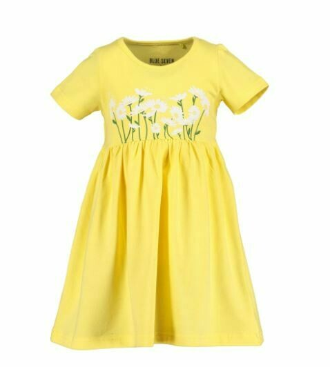 Blue Seven Yellow Cotton Dress with Flowers