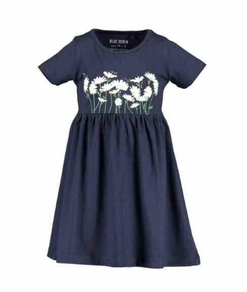 Blue Seven Navy Cotton Dress with Flowers