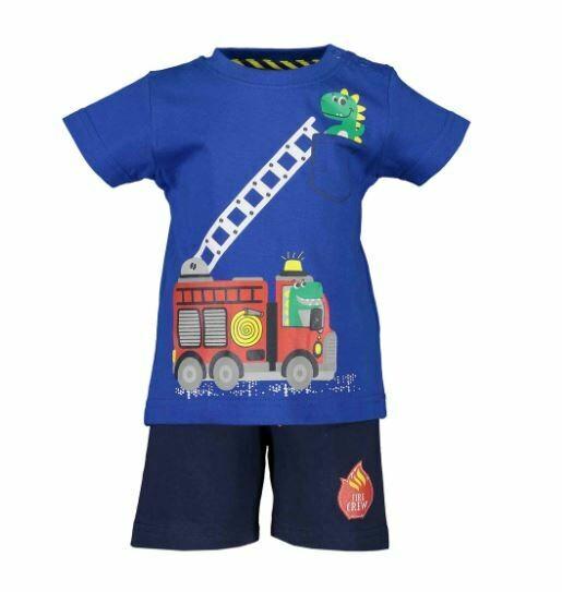 Blue Seven Baby Boys Fire Truck Blue Shorts set