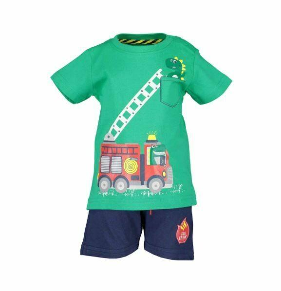 Blue Seven Baby Boys Fire Truck Green Shorts set