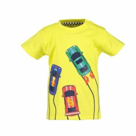 Blue Seven Baby Boys Racing  Cars Yellow Tee