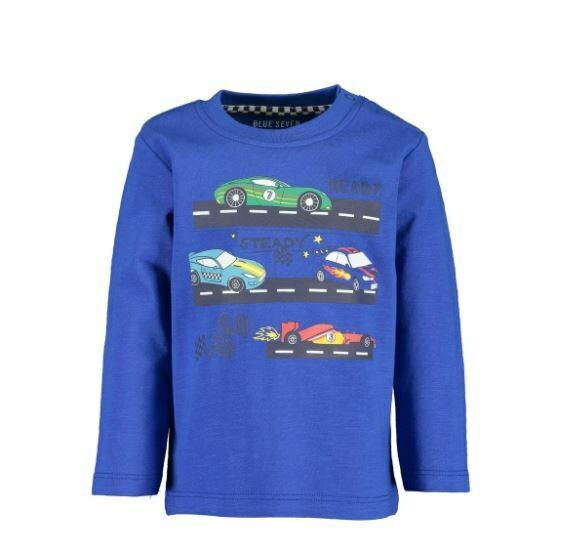 Blue Seven Baby Boys Racing  Cars Blue Long Sleeved  Tee
