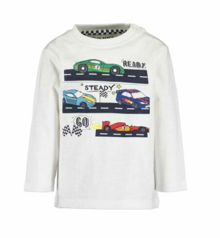 Blue Seven Baby Boys Racing  Cars White Long Sleeved  Tee