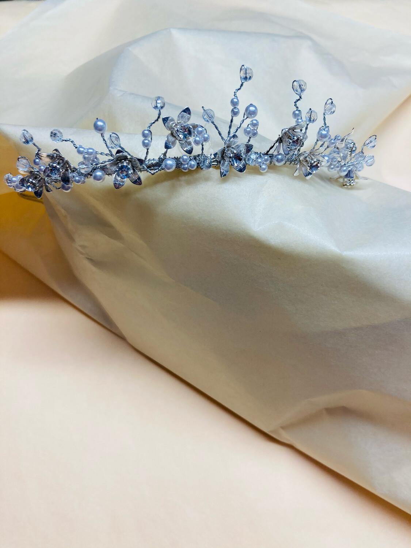 Communion Pearl & Daisy Silver  Tiara