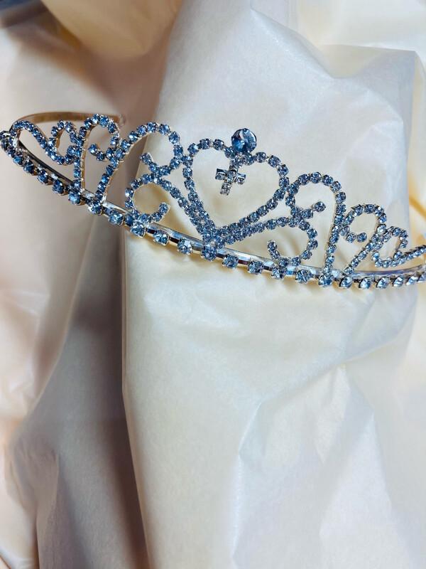 Communion Diamante  Silver  Tiara with Cross