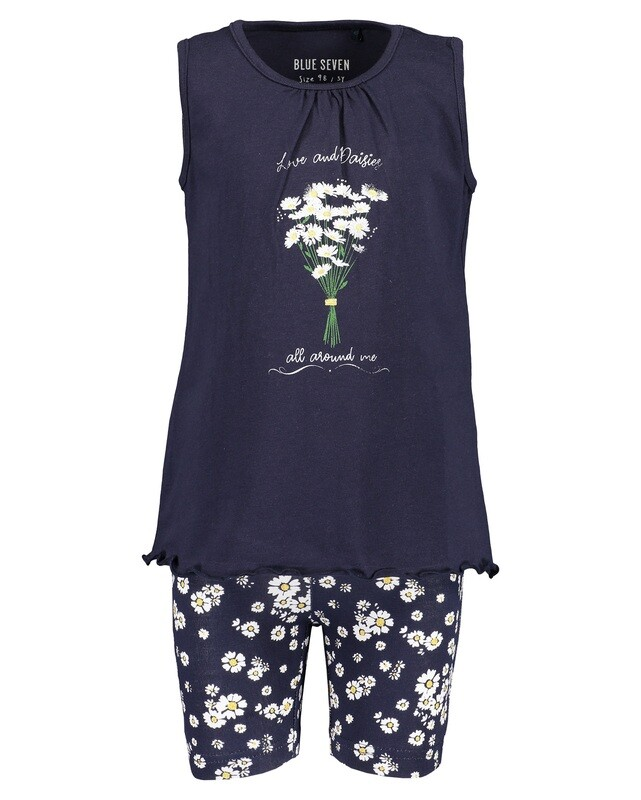 Blue Seven Navy Cotton Girls Shorst Set Navy with Flowers