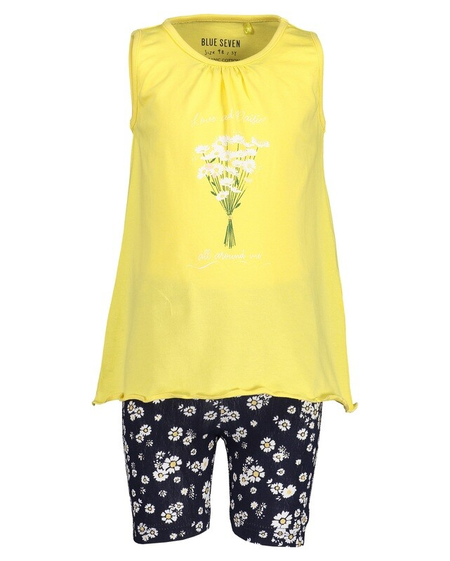 Blue SevenGirls Lemon Cotton Girls Shorts Set Lemon  with Flowers