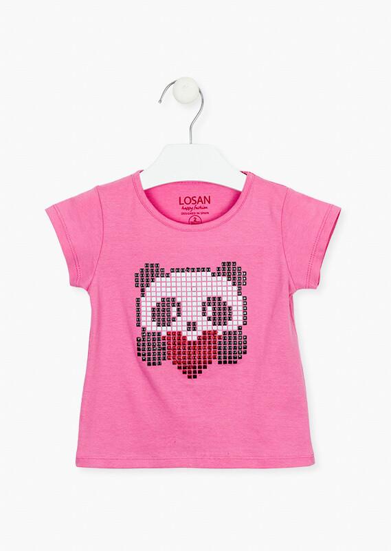 Losan Girls Studded Panda design Pink Tee