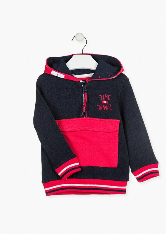 Losan Boy Red/Black  hoodie with Half  Zip