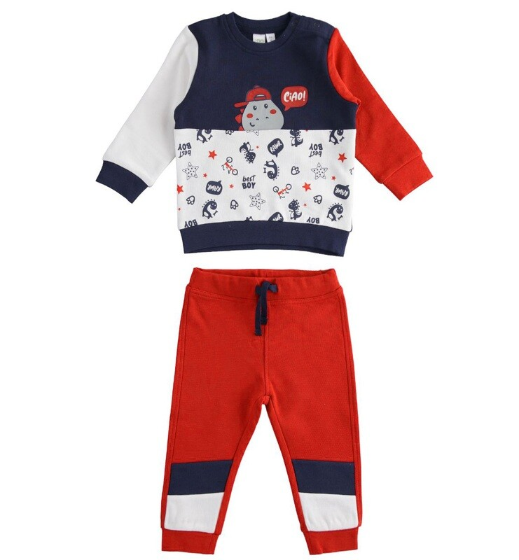 iDO Mini Boys Tracksuit Red and Navy