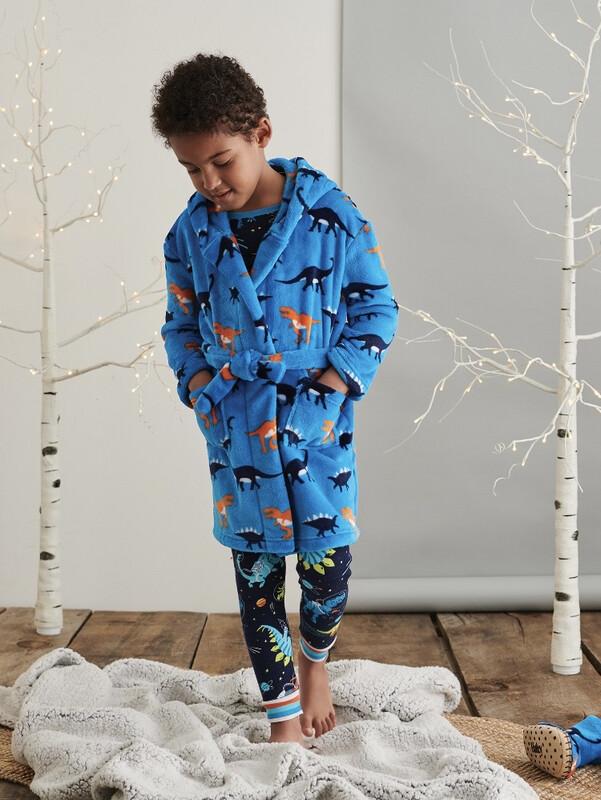 Hatley Sleepy  Dino Fleece Dressing Gown