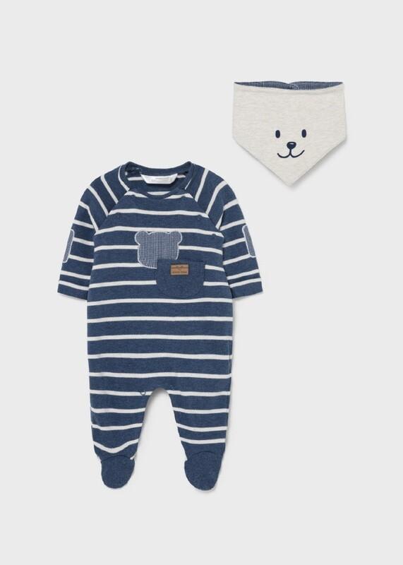 EcoFriends Baby Boy Striped Sleepsuit with Bib