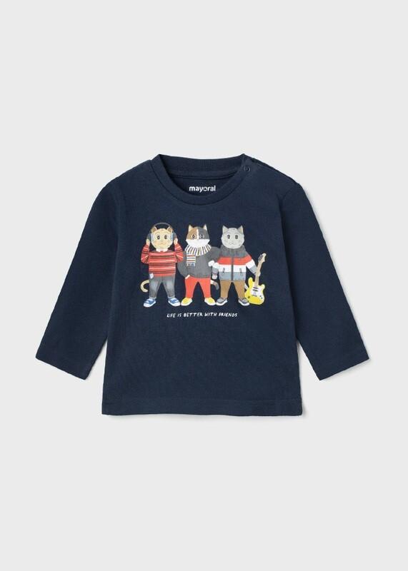 Mayoral Baby Boy  ECOFRIENDS cat long sleeve t-shirt