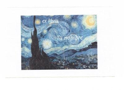 ex libris personalizado 64 piezas [Noche estrellada Van Gogh] envío incluido