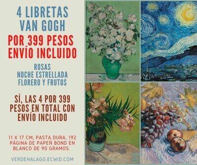 4 libretas van Gogh 11 x 17 cm por 399 pesos envío incluido