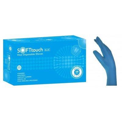 Γάντια βινυλίου μπλέ με πούδρα Soft Touch (3,5gr) 1000 τεμάχια