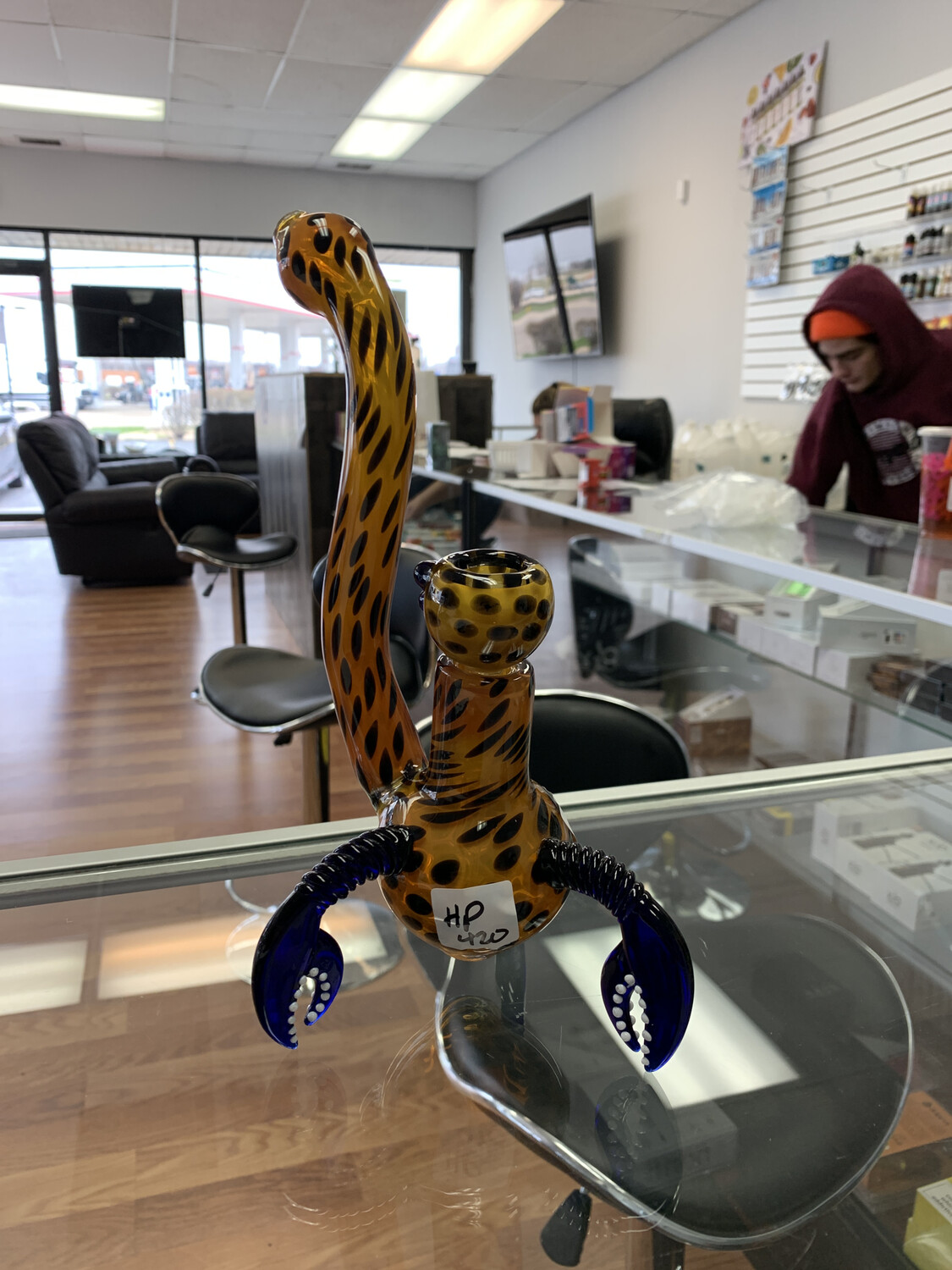 Cheetah Bubbler With Crab Claws