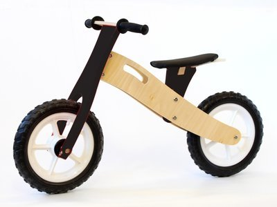 Wooden Balance Bike - Birch & Black (ages 2.5 up to 5)