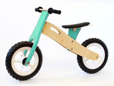 BooToo Wooden Balance Bike - Natural Birch & Light Blue  (White rims)