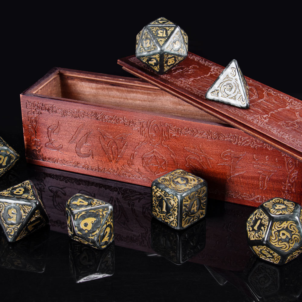 25mm Titan Dice Polyhedral Set with Box, Nyx