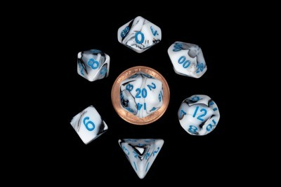 10mm Mini Polyhedral Dice Set - Glow, Marble, Ethreal