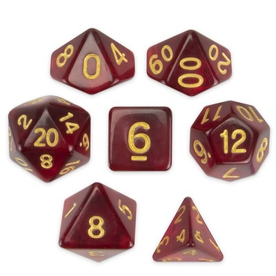 Set of 7 Polyhedral Dice, Blood Lust
