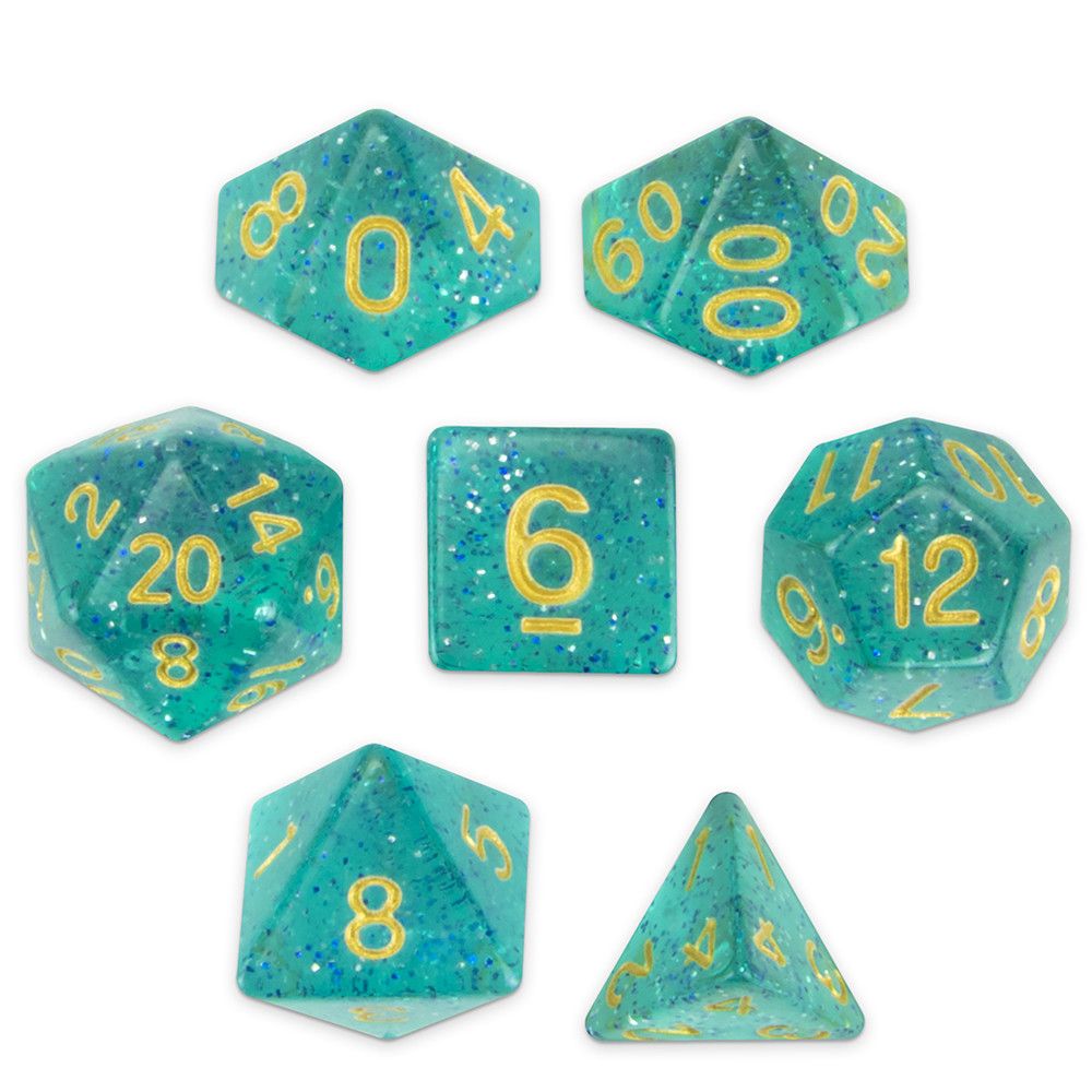 16mm Set of 7 Polyhedral Dice, Celestial Sea
