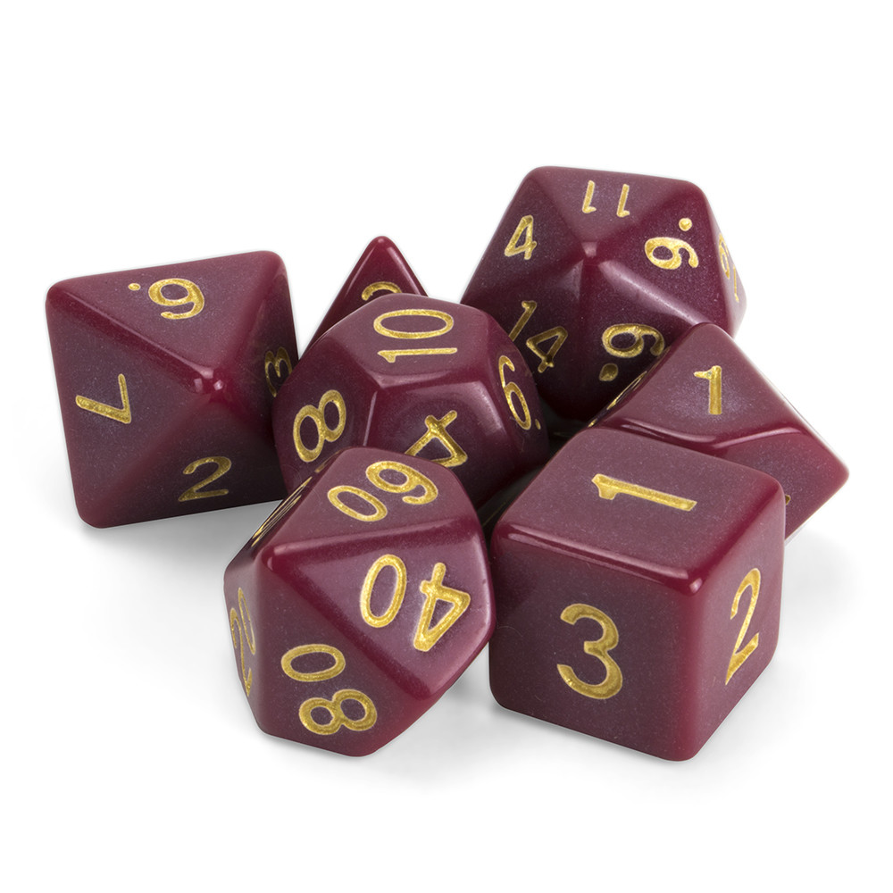 16mm Set of 7 Polyhedral Dice, Crimson Queen