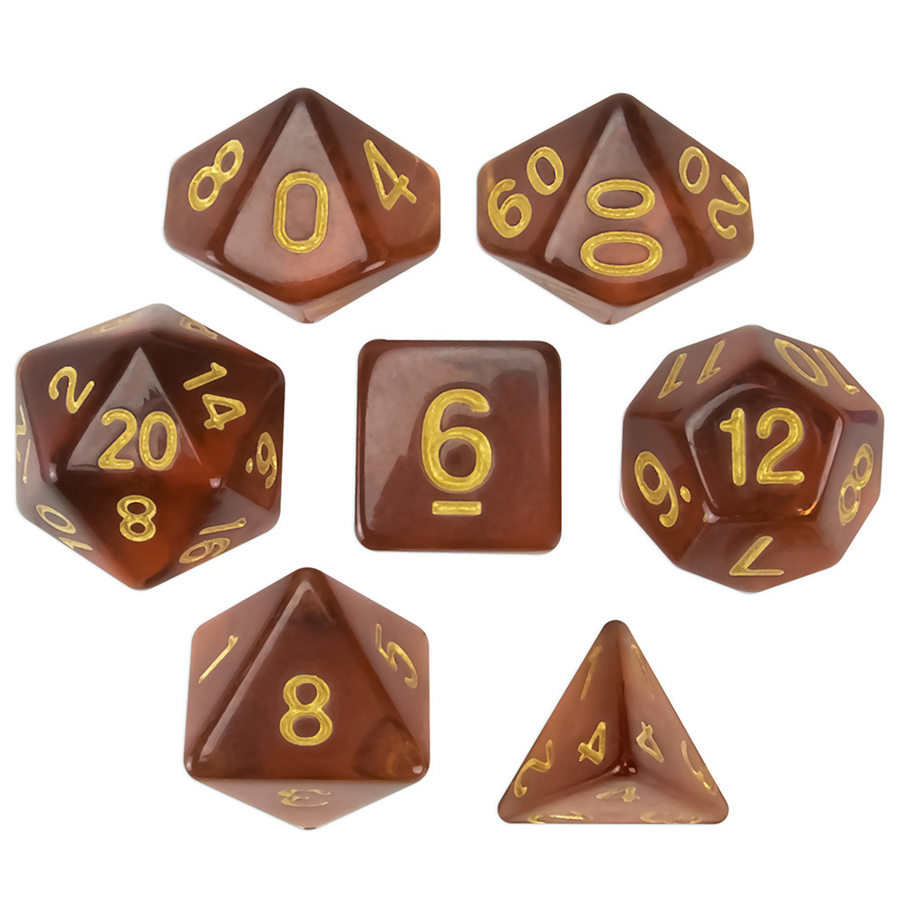 Set of 7 Polyhedral Dice, Desert Topaz