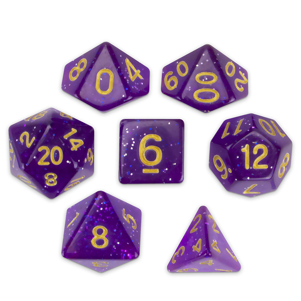 Set of 7 Polyhedral Dice, Midnight Nebula