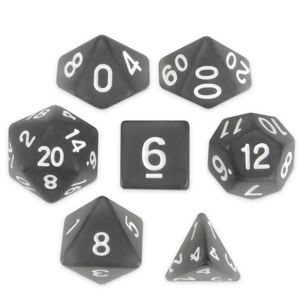 16mm Set of 7 Polyhedral Dice, Penumbra