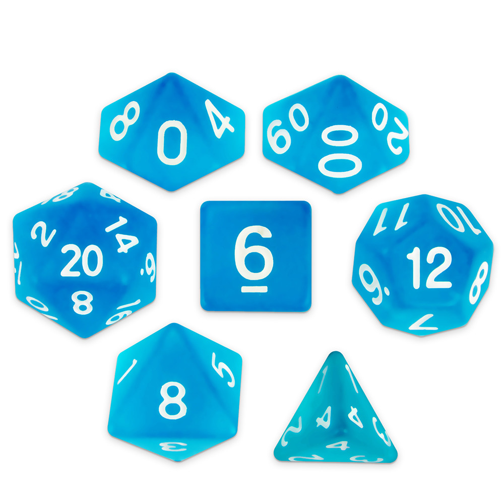 16mm 7 Dice Polyhedral Set, Sea Glass
