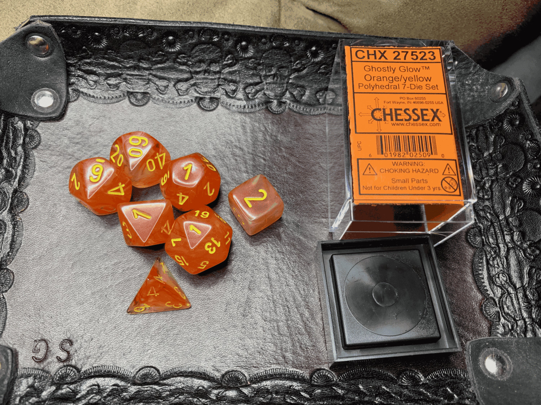 7 Die Dice Polyhedral Set - Ghostly Glow Orange Yellow