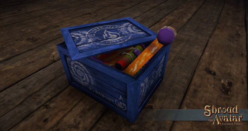 Replenishing Blue Pinwheel Fireworks Box - Shroud of the Avatar