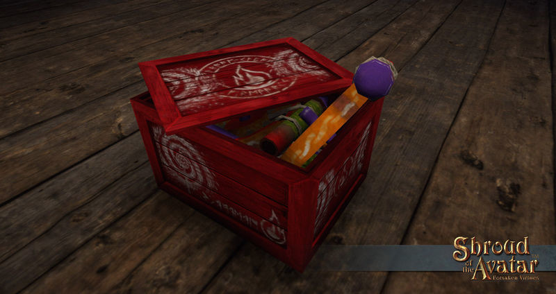 Replenishing Red Pinwheel Fireworks Box - Shroud of the Avatar