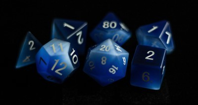 Cat's Eye Frosted Blue: Full-Sized 16mm Polyhedral Dice Set
