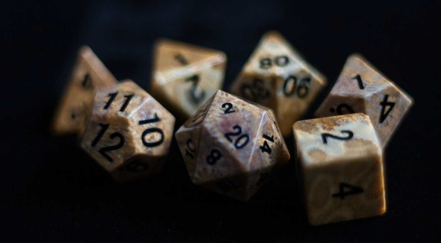 Coral Fossil: Full-Sized 16mm Polyhedral Dice Set
