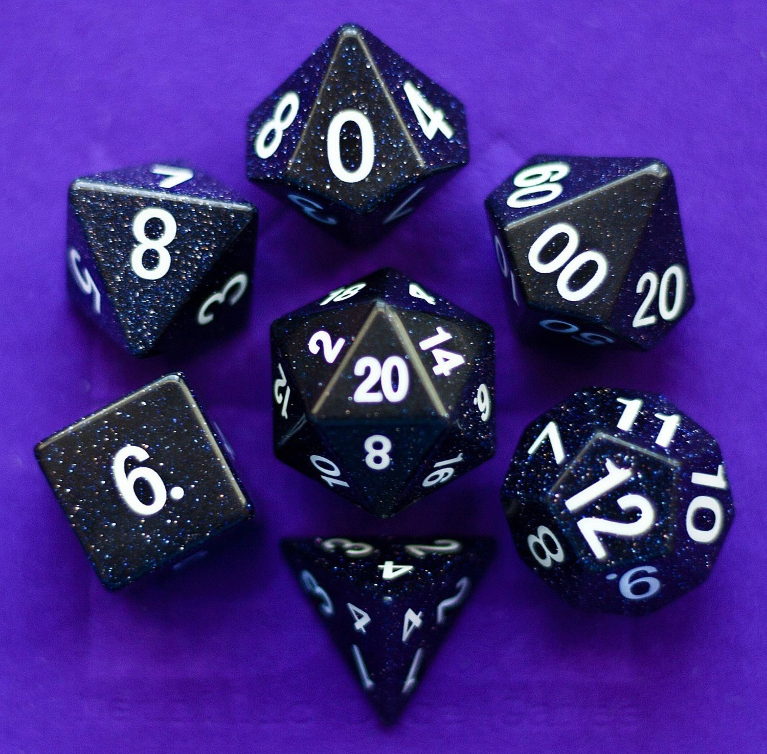 Blue Sandstone: Full-Sized 16mm Polyhedral Dice Set